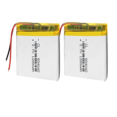 ndegdgswg 1/2/4 piezas 3.7v 1200mAh 804040 batería de polímero de iones de litio, recargable para auriculares de micrófono Bluetooth 2pcs