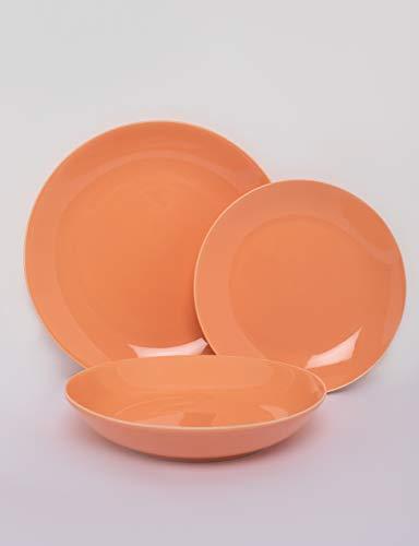SELB Tafelservice Servier Set aus Steinzeug, 18-teiliges hochwertiges Teller-Set für 6 Personen (Mandarinorange)