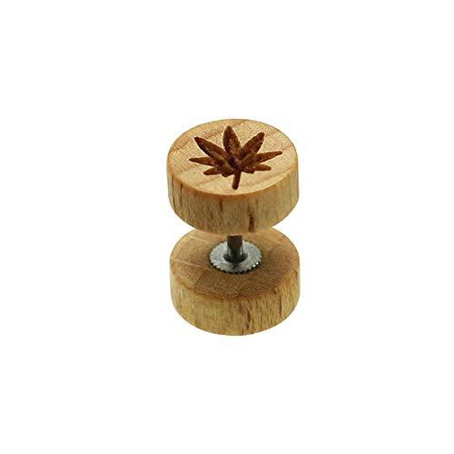 BlackAmazement Fake Plug 316L Edelstahl & Holz Hanfblatt Pot Leaf Cannabis Gras Weed schwarz braun Damen Herren (Hellbraun)