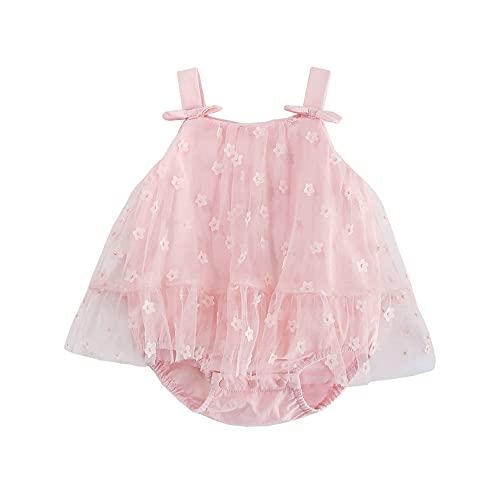 ベビー服 ノースリーブワンピースキャミソールワンピース女の子夏 チュールスカートカバーオール赤ちゃん贈り物花柄ピンク24M