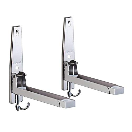 Uni-Wert Stainless Steel Microwave Oven Rack Retrackable Foldable Microwave Oven Wall Mounted Stand Holder Rack Bracket With Two Hooks