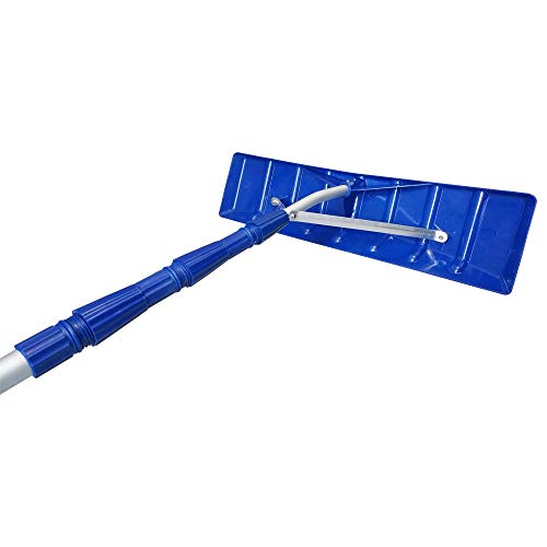 MTB Telescoping Snow Roof Rake, Blue, with 21-ft Extension Aluminum Handle Rooftop Snow Removal Tool