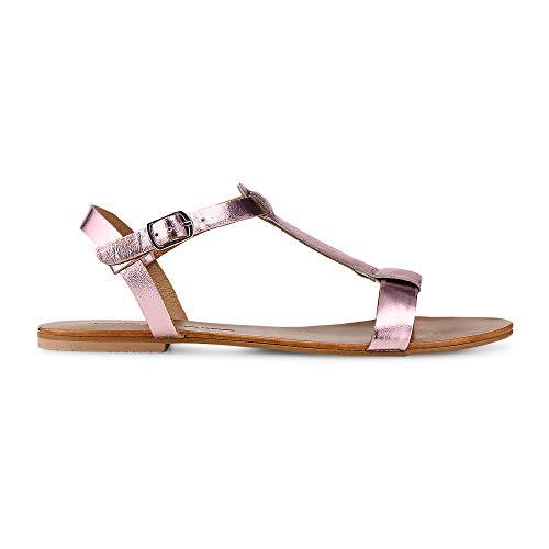 Cox Damen Sommer-Sandalen aus Leder, Flache Riemchen-Sandaletten in Rosa mit Schnallen-Verschluss Rosa Leder 40