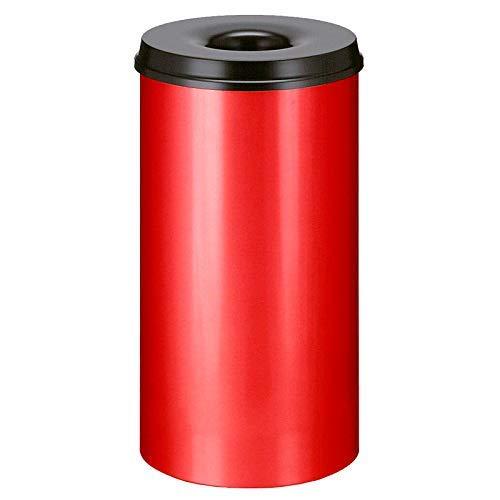 V-Part Selbstlöschender Papierkorb 50 Liter, Korpus rot / Löschkopf schwarz