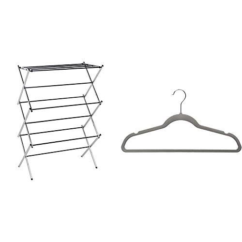 Amazon Basics Foldable Concertina Indoor Airer - Chrome & Velvet Suit Hanger Pack of 50, Gray
