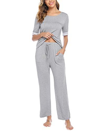 iClosam Pijamas Mujer Verano Casual Elegante Conjunto Mujer Pantalon Y Top