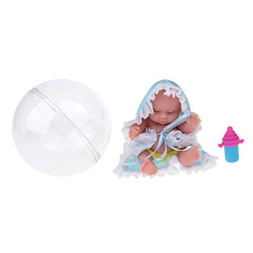 F Fityle Lindo Durmiendo Muñeca Bebé Renacida Miniatura Juguete para Navidad - Azul
