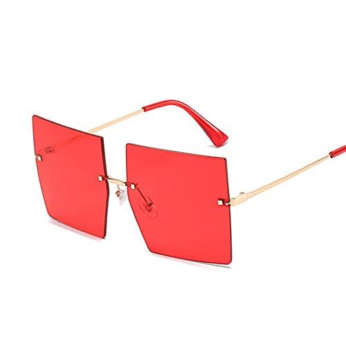 UKKD Gafas De Sol Mujeres Vintage Square Gafas De Sol Mujeres De Lujo De Gran Tamaño, Gafas De Sol, Sombras De Moda Femenina De Moda Claro-Gold Red
