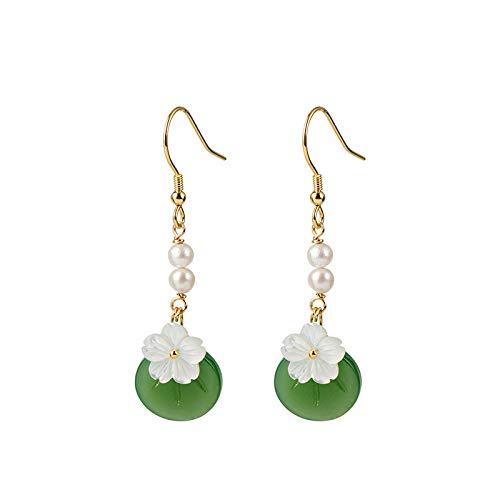 Vintage S 925 zilveren oorbellen vrouwen Inlay LIEF Pearl glazen schaal bloesemblaadjes long mode erf creatieve temperament elegant geschenk persoonlijkheid trend 3D