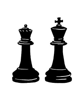 Stickerbrand King and Queen Chess Pieces Wall Decal OS_MB666A Removable