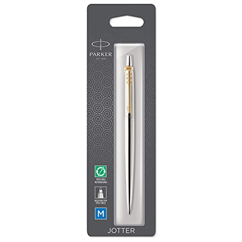 Parker Jotter Kugelschreiber | Edelstahl mit Goldzierteile | Mittlere Spitze | Blaue Tinte