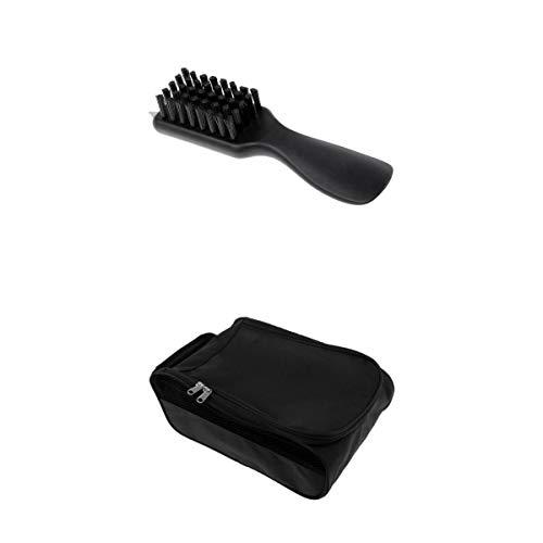 Baoblaze Mochila de Zapatos para Deporte Golf, Material Poliéster + Golf Brush Groove Cleaner Shoes Cepillo Calzador y Punta Llave - Negro