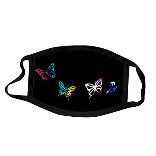 Willow S Fashion Men and Women Butterflies Print Washable Anti Dust Breathable Face Μâ𝓢𝘒 Black