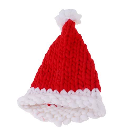 Amosfun Weihnachten Winter Strickmütze häkeln Winter Strickmütze häkeln Weihnachtsmütze für Weihnachten Party Neujahr Cosplay (red Adult)