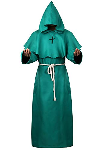 Green Hooded Cloak for Men Wizard Robe Medieval Costume Priest Sorcerer Monk Cape Green Large