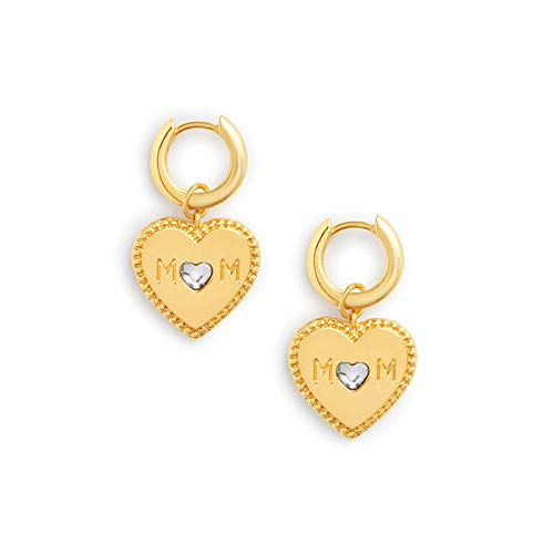 YIJTE Arete Pendientes de Aros de Letras de Cristales para Mujer Mamá Regalo 925 Pendientes de corazón de Plata esterlina 925 Lujo (Gem Color : Gold)
