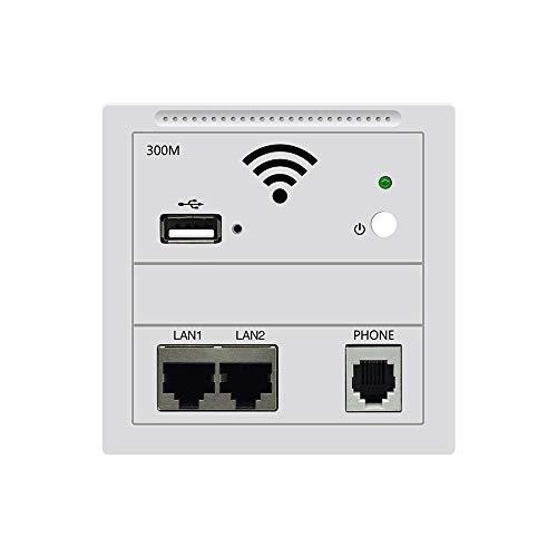 Outengda - Router inalámbrico de pared (300 Mbps, USB, WiFi, punto de acceso a la pared, punto de acceso RJ45 WiFi con carga USB, botón RJ11 de encendido/apagado [una caja de enchufe incluida] blanco 802.3AF Standard POE