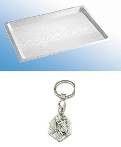 Zisa-Kombi Kunststoff-Duschwanne weiß, 915 x 820 x 53 mm (93298864109) mit Anhänger Hlg. Christophorus
