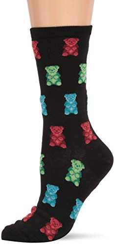 Hot Sox Women's Food and Drink Novelty Casual Crew Socks, Gummy Bears (black), Shoe Size: 4-10