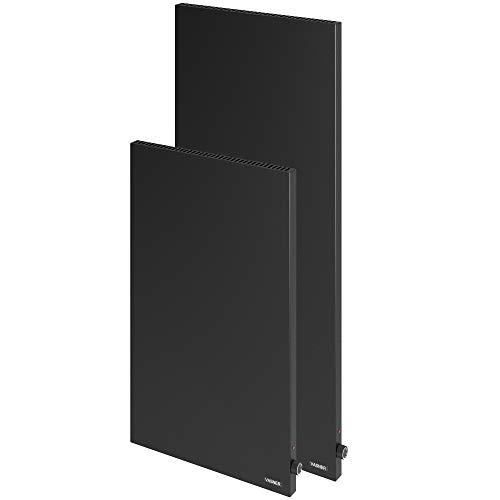 VASNER Konvi VE Noir – chauffage infrarouge hybride, 1000-1200 W, radiateur électrique mural, avec convection, avec thermostat, vertical, métal (1000 W)