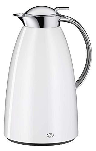 alfi Isolierkanne Gusto, Thermoskanne Edelstahl weiß 1,5L, alfiDur Glaseinsatz, auslaufsicher, hält 12 Stunden heiß, 3561.211.150 ideal als Kaffeekanne oder als Teekanne, Kanne für 10 Tassen