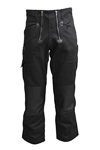 TMG® Zunfthose für Herren ohne Schlag, Lange Zimmermannshose mit Kniepolstertaschen 400gr Schwarz 54