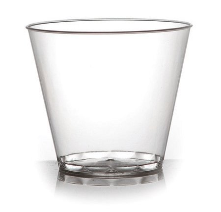 Fineline Hard Plastic Tumblers, 9 oz Clear Cups, Old Fashioned, Elegant Party Glasses, 80-piece Package