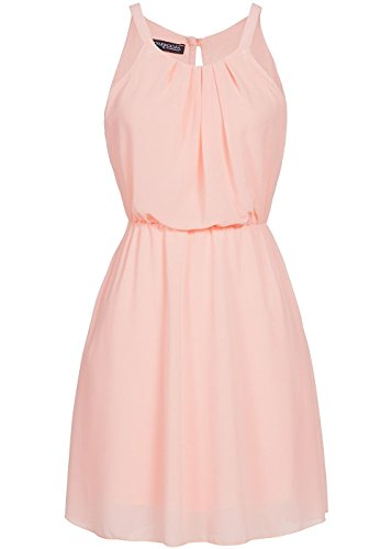 Styleboom Fashion® Damen Mini Chiffon Kleid 2-lagig Trägerkleid Sommerkleid rosa, Gr:XL