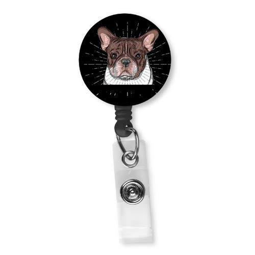 French Bulldog Frenchie Retractable Badge Reel ID Holder