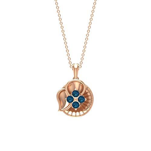 Rosec Jewels 18 quilates oro rosa redonda Blue Topacio azul - Londres