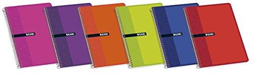 Enri 100430111 - Pack de 10 cuadernos espiral, tapa blanda, 4º