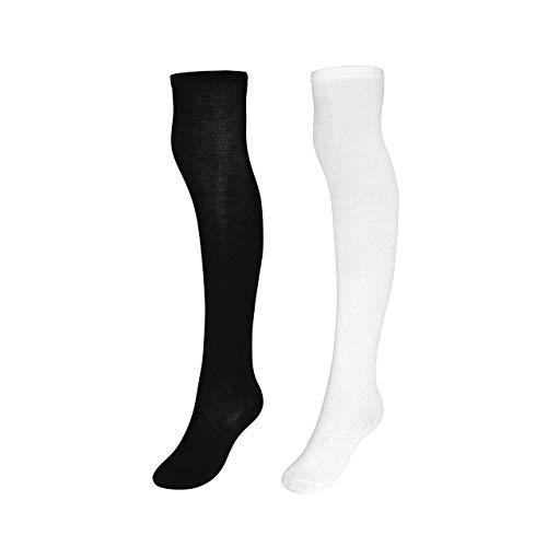 CHIC DIARY Overknee Strümpfe Damen Mädchen Cheerleader Kostüm College Gestreifte Kniestrümpfe Sportsocken Baumwollstrümpfe, 2 Paar(schwarz+weiß), Einheitsgröße