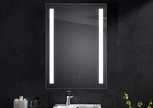 SGSpiegel Badspiegel mit Antibeschlag Heizung und seitlicher LED Beleuchtung 60x80cm, Badezimmerspiegel, Lichtfarbe Weiß, Energieklasse A+