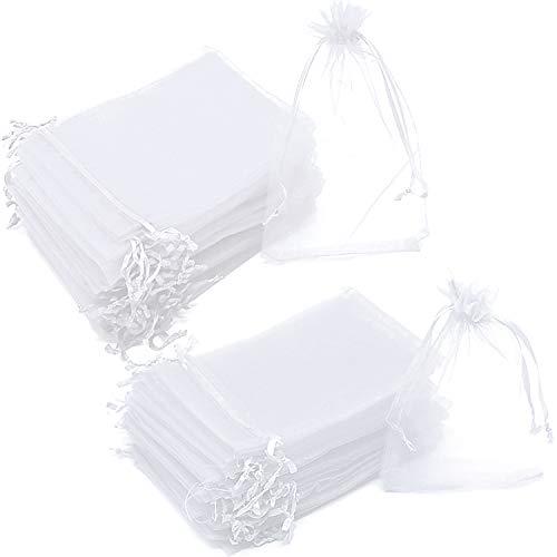 OBSCYON 200 pz Bianco Sacchetti Organza Regalo,Gioielli Sacchetto,Coulisse Sacchettini,per Bomboniera Nozze Confetti Feste Natalizie (10 x 12 cm,10 x 15 cm)