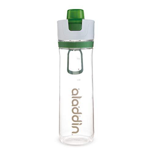 Aladdin Active Hydration Tracker Water Bottle 0.8L Grün – Einhandbedienung Auslaufsicherer Deckel - Nachfüll-Funktion - BPA-Frei - Glatte Trinktülle - Fingerschlaufe - Spülmaschinenfest