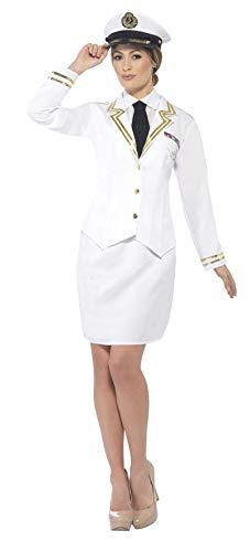 Smiffys Disfraz de Oficial de la Marina, Blanco, con Chaqueta, Camisa Falsa, Corbata Peg