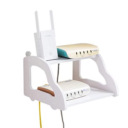 Estante Flotante WiFi Router Flotante Estante Montado/Escritorio, Caja de Almacenamiento enrutador Blanco, TV Conjunto de TV Box Top Mordern Soporte Soporte Soporte para Cajas de Cable/Remotes/R