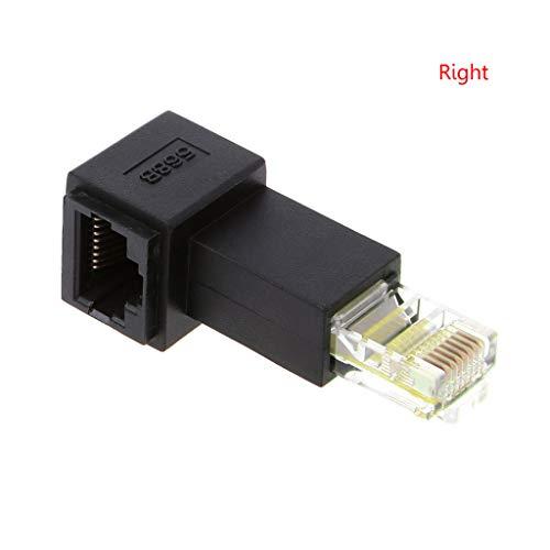 Anjuley - Adaptador de extensión de Red Ethernet multiángulo RJ45 Cat5e Macho a Hembra LAN