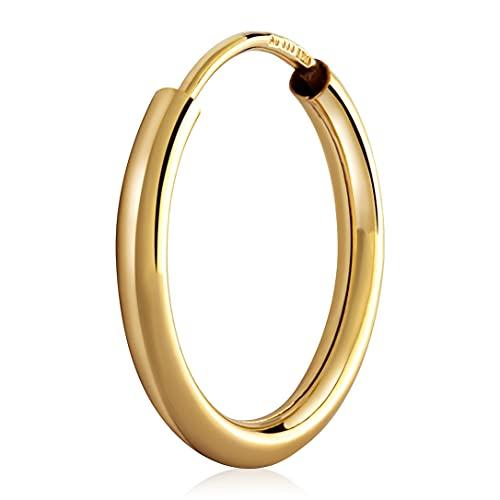 NKlaus Pendientes de aro de 15 mm de oro amarillo 333 de 8 quilates, 2 mm de grosor 3087