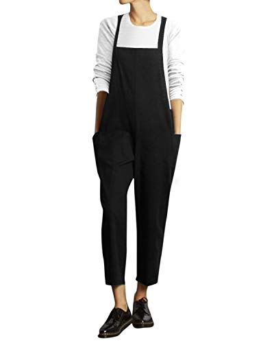 VONDA Damen Latzhose Retro Lange Overall Größe Jumpsuit Baggy Sommerhose Schwarz 4XL/EU50
