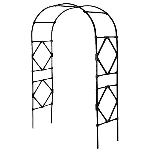 ZZLYY Arco De Metal Jardín Decoración, Arbor De Jardín Pergolas, Arcos De Jardín para Decoración De Exteriores De Planta Trepadora, Fácil De Montar,Negro,120 * 240cm