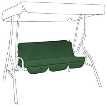 DSDD Swing Cushion Cover Water Resistant 3 Seater Swing Seat Bench Cushion Cover for Outdoor Garden Hammock 150 * 150 * 10cm Green, Cushion not Included