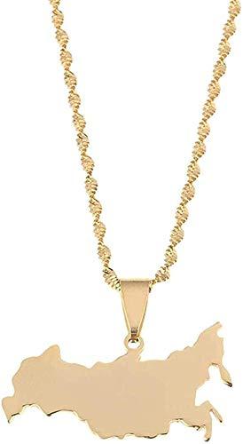 Liuqingzhou Co.,ltd Collar Collar Acero Inoxidable Color Dorado Mapa de Rusia Collares Pendientes Federación de Rusia Joyería con dijes