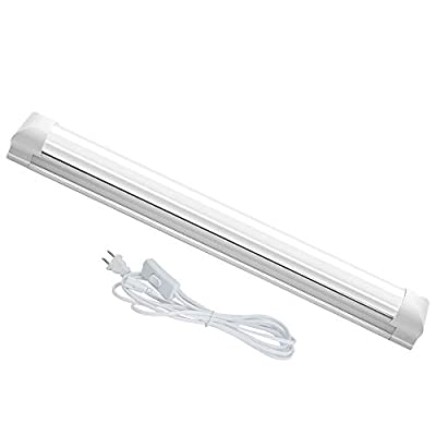 JESLED 1FT T8 LED Single Light Fixture, 4W 6500K, 540LM, with on/Off Switch Power Cords, Bright White, Frosted Cover, Plug and Play (1-Pack)