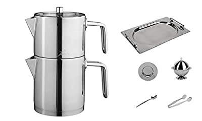 Stainless Steel Turkish Teapot Samovar - 18/10 Jumbo Premium Quality Kettle INOX Midi Size 1.5 Lt