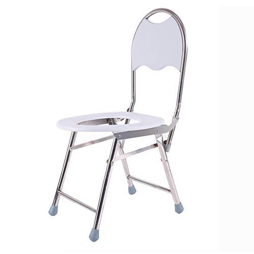 N\C Klappbarer Dusch-/Badestuhl Edelstahl Toilettenstuhl Duschsitz Hocker mit Rückenlehne Gangstuhl für Senioren/Behinderte/Schwangere Antirutschmatten Duschstuhl Schwere Belastung max. 150kg LKWK