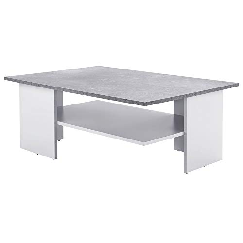 WOHNLING Design - Tavolino da salotto con ripiano, 90 x 35 x 60 cm, colore: grigio cemento/bianco