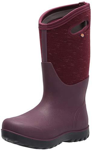 Bogs Women's Neo-Classic Tall Rain Boot, Melange Print-Plum, 12