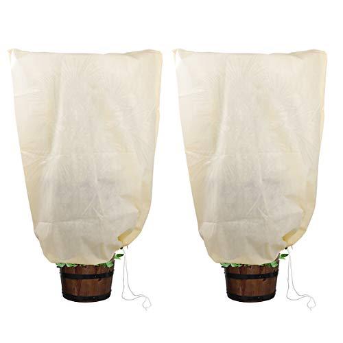 SanGlory 2er Set Pflanzenschutz Winter 100 x 80 cm Frostschutzhaube für Pflanzen, Winterschutz Kübelpflanzensack aus Vlies, Pflanzen Frostschutz für Kübelpflanzen und Rosen (100 x 80cm)
