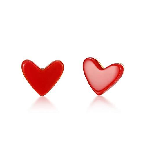 Plata 925 Pendientes Mujer, Cadena Natal Corazón De Melocotón Artificial Pequeños Clips De Oreja Coral Dorado Línea De Oreja Roja Neta, Pendientes De Oreja De Niña De Boda Inusual Accesorio De J